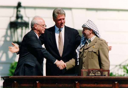 Bill Clinton Yitzhak Rabin Yasser Arafat at the White House 1993 09 13